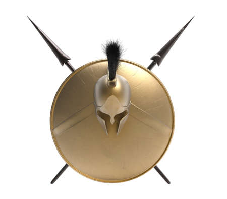 Isolated 3d render illustration of spartan armored helmet, shield and spears on white background.