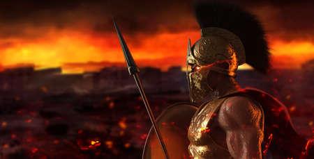 3d render illustration of spartan king demigod in golden armor and helmet, holding spear and shield on burning battlefield background.