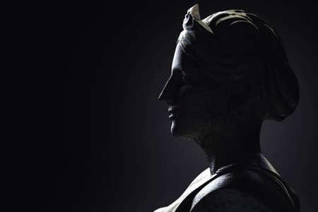 3d render illustration of antique greek female sculpture profile view on dark background.