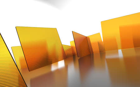 3d render illustration of orange glass walls abstract backdrop image.