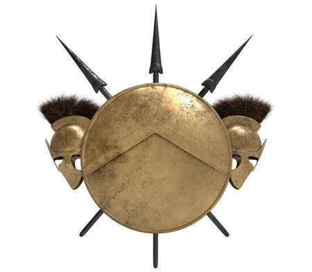 Isolated 3d render illustration composition of spartan shield, helmets and spears on white background.
