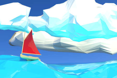 Lowpoly 3d render illustration of boat with red canvas sailing in ocean.