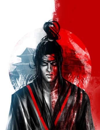 Artwork illustration of japanese samurai warrior divided on evil and good side.