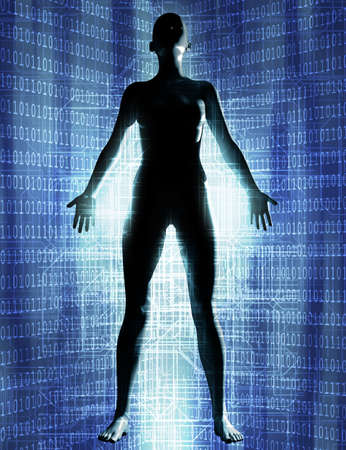 3d render illustration of female robot figure levitating on binary code cyberspace background.