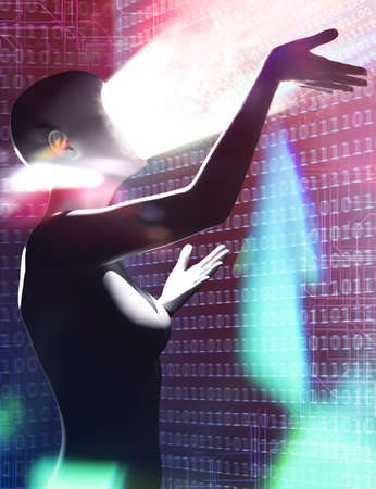 3d render illustration of female robot figure standing and hacking virus on binary code cyberspace background.