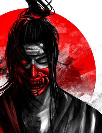 Artwork illustration of japanese samurai warrior in red mask possessed by oni demon.