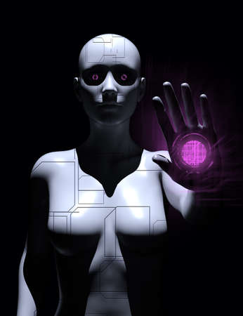 3d render illustration of female robot standing with glowing eyes and hand on dark background. Stockfoto