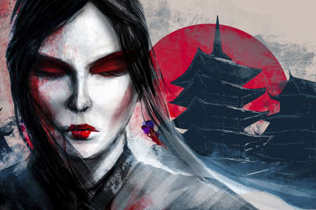 Artwork illustration of japanese geisha painted woman face with blood splatter and ancient buildings on background. Stockfoto