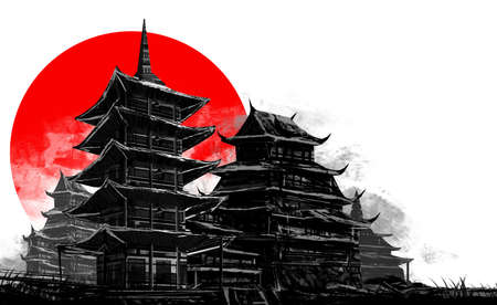 Illustration artwork of ancient drawn japanese city buildings on white background with red sun.