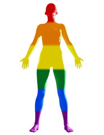 Isolated female figure colored in LGBT pride flag. Stockfoto