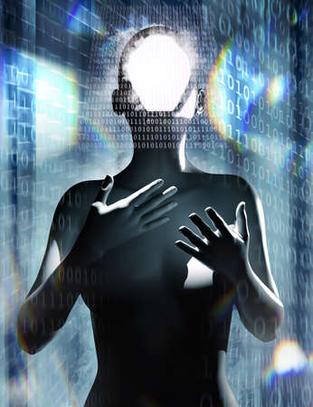 3d render illustration of female robot figure standing on binary code cyberspace background.