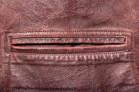 Texture backdrop photo of brown colored suede leather pocket.