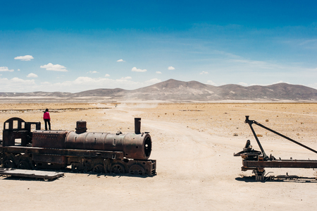 Train cemetery in Uyuni desert in Bolivia