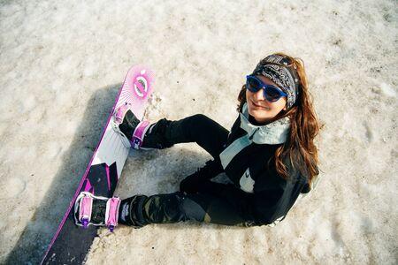 Young Girl Tourist Snowboard Ski Snow Winter Mountain Happy