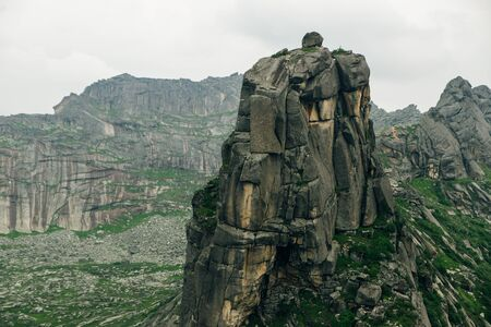 View of the Gray Rocks on the crest of the Western Sayan. Nature Park Ergaki in russia Stok Fotoğraf