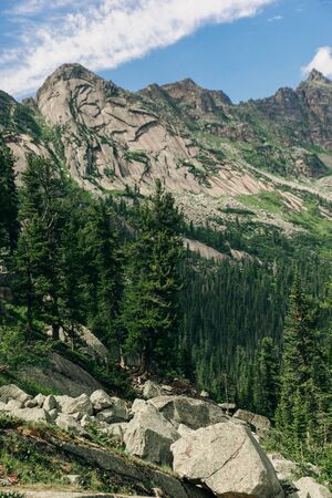 View of the Gray Rocks on the crest of the Western Sayan. Nature Park Ergaki