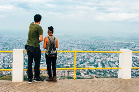 tourist Panoramic view of the modern section of Cartagena,