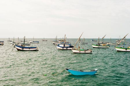 Peru Lima Fisher boats living near the cost of Lima. Stock Photo