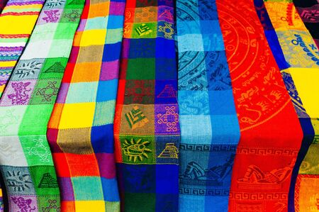 Stack of colorful fabrics in mexico