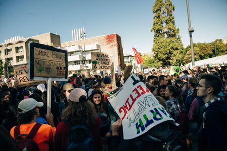 Striking people at rallies on environmental occasion global warming