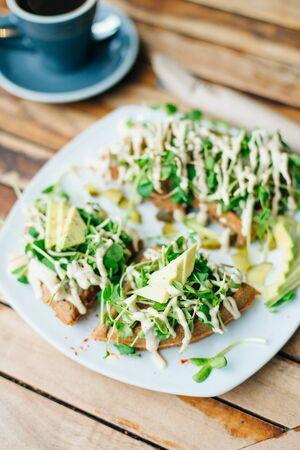 rustic avocado waffles with fresh radish with vegetarian sauce Reklamní fotografie