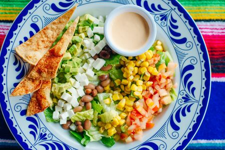 mexican salad with corn, pepper, chips, cheese, avocado and sauce. Reklamní fotografie