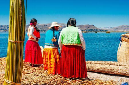 Traditional Woman on Uros Islands - Lake Titicaca - Peru.