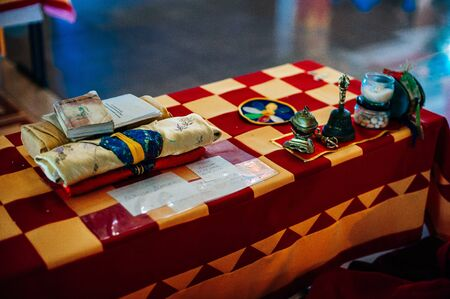 russis, buryatia - september, 2019 Buddhist monk accessories on the table
