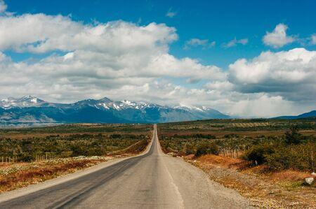 road in national park Torres del Paine, patagonia, argentina.