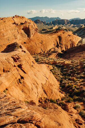 Panoramic view of Fire Canyon Silica Dome in Valley of Fire State Park, Nevada United States. Stock Photo