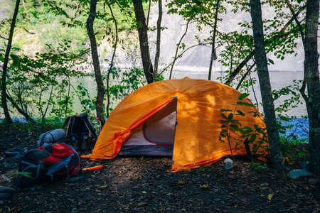 Orange camping tent with backpack in the cozy green forest. Stockfoto
