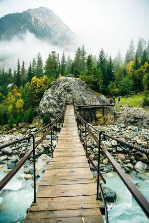 Svaneti region, Georgia, Caucasus - bridge over a mountain river.