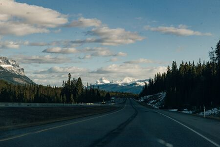 View of Mountain Ranges during Road Trip to Banff National Park, Alberta, Canada. arch.