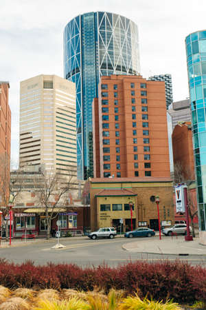 view of Calgary downtown on Centre Street showing tall corporate office skyscrapers. canada - sep 2019.