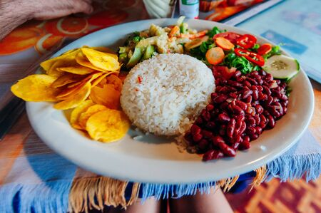 Colombian-style Beans and Rice meal, Colombia, South America Stock Photo