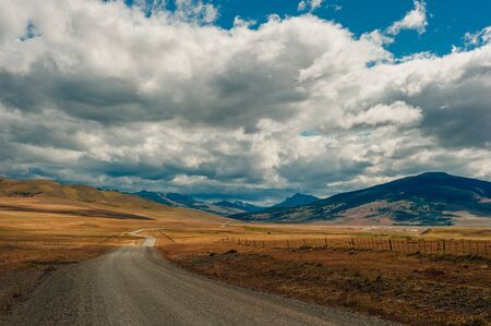 beautiful road in the field between the borders of chile and argentina.