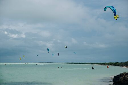 mexico, island holbox - february 2020 Kite surfing at holbox island in the caribbean sea. Reklamní fotografie