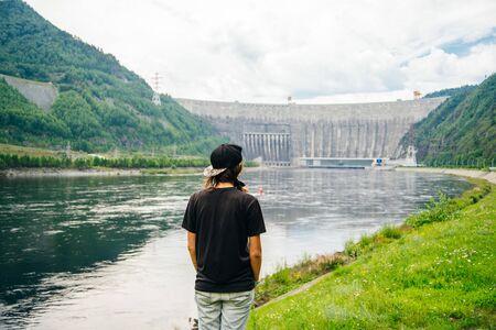 Hydroelectric power station on the Yenisei River in Siberia. Sayano-Shushenskaya Dam.