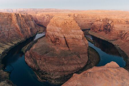 Horseshoe Bend in Glen Canyon National Recreation Area in early dawn.