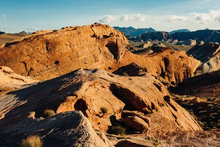 Panoramic view of Fire Canyon Silica Dome in Valley of Fire State Park, Nevada United States.