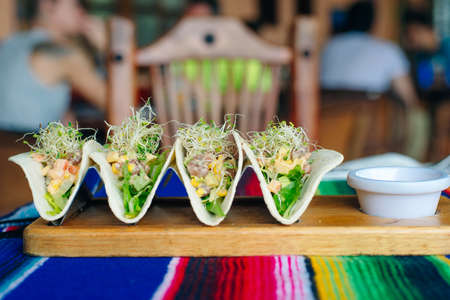 vegetarian tacos with vegetables and seedlings - Mexican food style