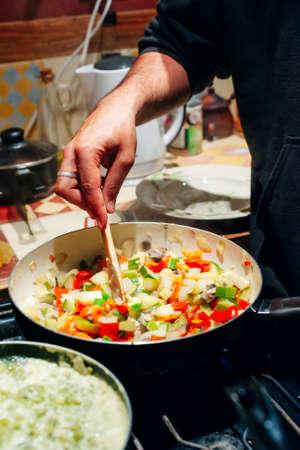 vegetable mixture in a frying pan Reklamní fotografie
