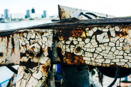 Rust of metals. Corrosion of metal. Rust and corrosion in the weld 免版税图像