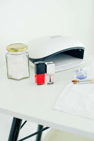 UV lamp. manicure specialist set. Small nail art and manicure business Standard-Bild