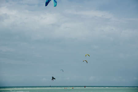 mexico, island holbox - february 2020 Kite surfing at holbox island in the caribbean sea. Stock Photo