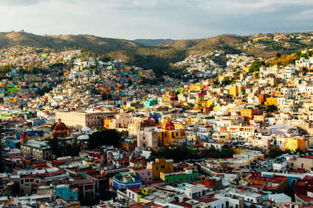 Cityscape of Guanajuato city with the Basilica of Our Lady of Guanajuato, Mexico. Stok Fotoğraf