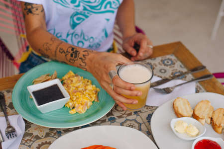breakfast for tourist in the hotel with eggs, toast and fruit in mexico Sajtókép