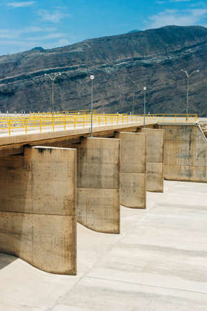 Dam with less water due to drought. Water shortages of water storage dams Banco de Imagens