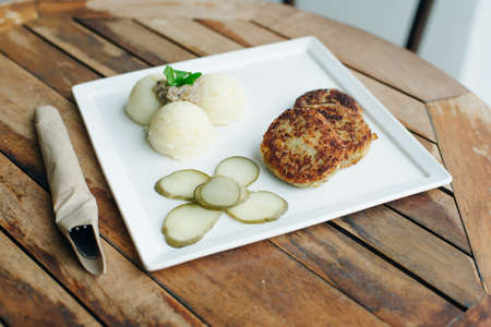 vegetarian cutlets with mashed potatoes and pickles