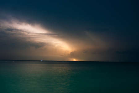 lightning on the caribbean coastin mexico, island holbox Banco de Imagens - 151369338